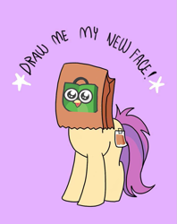 Size: 795x1005   Tagged: safe, artist:paperbagpony, oc, oc:paper bag, earth pony, female, paper bag, tokopedia