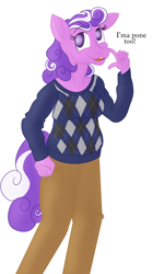Size: 1386x2475 | Tagged: safe, artist:sixes&sevens, screwball, oc, oc:sixes&sevens, anthro, clothes, female, implied transformation, implied transgender transformation, mare, simple background, smiling, solo, sweater, white background