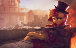 Size: 4000x2550 | Tagged: safe, artist:vanillaghosties, sunset shimmer, pony, unicorn, building, couch, female, fire, gun, hat, high res, mare, ruins, scenery, solo, top hat, town, unamused, underhoof, weapon