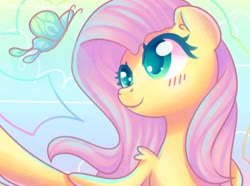 Size: 1280x953 | Tagged: safe, artist:musicfirewind, fluttershy, butterfly, pegasus, blushing