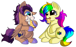Size: 1280x788   Tagged: safe, artist:rainbowtashie, flash sentry, trouble shoes, oc, oc:fast hooves, oc:rainbow tashie, clydesdale, earth pony, pegasus, pony, belly, belly button, chubby, commissioner:bigonionbean, cute, food, fusion, fusion:fast hooves, meat, multicolored hair, pepperoni, pepperoni pizza, pizza, rainbow hair, simple background, transparent background, unshorn fetlocks, writer:bigonionbean