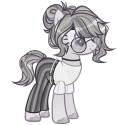 Size: 1000x1068 | Tagged: safe, artist:miioko, oc, oc only, oc:monochrome paige, earth pony, pony, belt, choker, clothes, female, glasses, mare, pants, shirt, simple background, t-shirt, transparent background, unshorn fetlocks