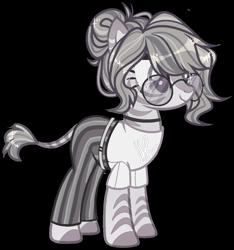 Size: 1000x1068 | Tagged: safe, artist:miioko, oc, oc only, oc:greyscale paige, zebra, belt, choker, clothes, female, glasses, pants, shirt, simple background, t-shirt, transparent background, unshorn fetlocks, zebra oc