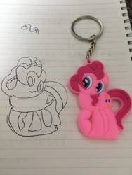 Size: 768x1024 | Tagged: safe, artist:metasura12, pinkie pie, earth pony, pony, duo, female, irl, keychain, lineart, lined paper, mare, photo, signature, smiling, traditional art