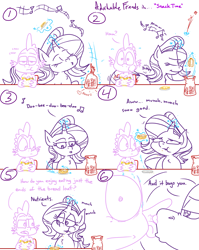 Size: 4779x6013 | Tagged: safe, artist:adorkabletwilightandfriends, spike, starlight glimmer, dragon, pony, unicorn, comic:adorkable twilight and friends, adorkable, adorkable friends, annoying, bread, bump, bumping, bumping hips, butt, chewing, comic, cute, dork, eating, food, glowing horn, horn, humming, humor, kitchen, magic, music, nostril flare, nostrils, plot, sandwich, singing, sitting, slice of life, snack, tail, teasing, telekinesis, whispering