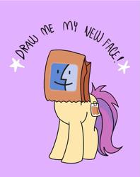 Size: 795x1005 | Tagged: safe, artist:paperbagpony, edit, oc, oc:paper bag, earth pony, female, macintosh, paper bag