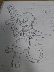 Size: 1080x1440   Tagged: safe, artist:omegapony16, oc, oc only, griffon, armor, clothes, female, griffon oc, gun, irl, lined paper, paws, photo, solo, traditional art, underpaw, vest, weapon