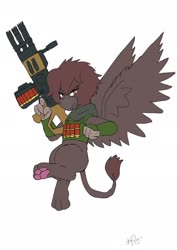 Size: 1451x2048   Tagged: safe, alternate version, artist:omegapony16, oc, oc only, griffon, armor, clothes, colored, female, griffon oc, gun, paws, signature, simple background, solo, underpaw, vest, weapon, white background