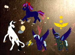 Size: 2846x2107 | Tagged: safe, artist:chili19, oc, oc only, oc:moonshadow, oc:thunder cloud, oc:twilight sparkle, earth pony, pegasus, pony, unicorn, abstract background, bow, clothes, colored hooves, female, hair bow, helmet, leonine tail, looking back, male, mare, rearing, spread wings, stallion, wings