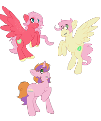 Size: 2500x3000 | Tagged: safe, artist:purplediamondcat, oc, oc only, oc:buttercream, oc:sugar pie, oc:sweet apple, pegasus, pony, unicorn, brother and sister, eye clipping through hair, female, flying, half-siblings, male, offspring, parent:big macintosh, parent:fluttershy, parent:sugar belle, parents:fluttermac, parents:sugarmac, siblings