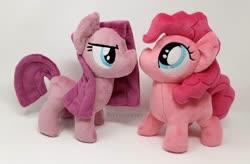 Size: 1500x983 | Tagged: safe, artist:hipsterowlet, pinkie pie, pony, chibi, duality, irl, photo, pinkamena diane pie, plushie, self ponidox
