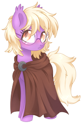 Size: 1839x2725 | Tagged: safe, artist:hawthornss, derpibooru exclusive, oc, oc only, oc:pinkfull night, bat pony, pony, bat pony oc, blushing, cloak, clothes, female, glasses, looking at you, shy, simple background, solo, teenager, transparent background