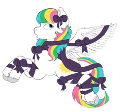 Size: 1089x951 | Tagged: safe, artist:anonymous, pegasus, pony, /mlp/, 4chan, drawthread, g1, gift wrapped, multicolored hair, rainbow hair, ribbon, simple background, solo, unshorn fetlocks, white background