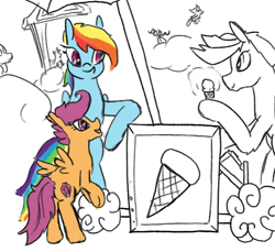 Size: 777x711   Tagged: safe, artist:anonymous, rainbow dash, scootaloo, pegasus, pony, /mlp/, 4chan, drawthread, food, ice cream, ice cream stand