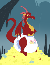 Size: 1728x2223 | Tagged: safe, artist:vitriolink, basil, fluttershy, dragon, pegasus, pony, cave, cavern, cute, diaper, diaper fetish, dragon cave, dragon nest, fetish, gold, impossibly large diaper, non-baby in diaper, pile, poofy diaper, red dragon, stone, stone walls, tiny, tiny ponies, treasure