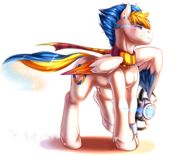 Size: 1280x1131 | Tagged: safe, artist:koi-to, oc, oc only, oc:alan, pegasus, aperture science, blue mane, blue tail, clothes, ear piercing, male, multicolored mane, nudity, orange mane, orange tail, personality core, piercing, portal (valve), raised hoof, raised wing, scarf, sheath, solo, standing, wheatley, white coat