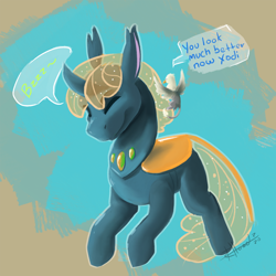 Size: 1234x1234 | Tagged: safe, artist:scruffasus, oc, oc only, oc:der, oc:xodious, changedling, changeling, dialogue, duo, metamorphosis, yellow changeling