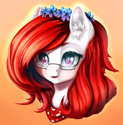 Size: 1281x1303 | Tagged: safe, artist:koi-to, oc, oc only, pony, clothes, ear fluff, female, flower, glasses, open mouth, red mane, scarf, solo, white coat, wreath