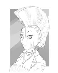 Size: 1024x1280 | Tagged: safe, artist:albertbm, zecora, human, breasts, bust, cleavage, clothes, ear piercing, earring, humanized, jacket, jewelry, monochrome, necklace, piercing, portrait, sketch, solo