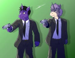 Size: 1280x995 | Tagged: safe, artist:beowulf100, oc, oc only, anthro, unicorn, clothes, commission, digital art, gun, male, pulp fiction, simple background, suit, weapon