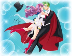 Size: 1280x990 | Tagged: safe, artist:shinta-girl, spike, sweetie belle, human, equestria girls, couple, female, humanized, male, romance, sailor moon, shipping, spikebelle, straight