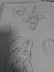 Size: 1080x1440 | Tagged: safe, artist:omegapony16, pinkie pie, rainbow dash, earth pony, pegasus, pony, secrets and pies, duo, female, flying, food, helicopter, irl, lineart, mare, pencil, photo, pie, running, scared, traditional art