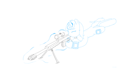 Size: 1920x1080 | Tagged: safe, artist:astralr, oc, oc:littlepip, pony, unicorn, fallout equestria, anti-materiel rifle, female, gun, levitation, lineart, magic, magic aura, mare, pipbuck, rifle, scope, simple background, sniper, sniper rifle, solo, telekinesis, weapon, white background