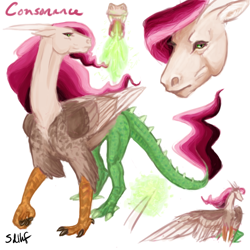 Size: 600x600 | Tagged: safe, artist:sdlhf, oc, oc only, oc:consonance, hybrid, bio in description, draconequus hybrid, female, fire, fire breath, interspecies offspring, offspring, parent:discord, parent:princess celestia, parents:dislestia, realistic, reference sheet, simple background, solo, spread wings, white background, wings
