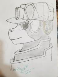 Size: 4032x3024 | Tagged: safe, artist:snowbankst, oc, oc:steam wonder, object pony, original species, pony, train pony, chicken scratch, monochrome, part of a set, photo, solo, traditional art, train