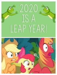 Size: 3106x4096 | Tagged: safe, apple bloom, applejack, big macintosh, earth pony, frog, pony, the perfect pear, 2020, applejack's hat, boomerang (tv channel), cowboy hat, freckles, hat, leap year, lip bite, open mouth, shocked, shocked expression