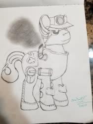 Size: 4032x3024 | Tagged: safe, artist:snowbankst, oc, oc only, oc:steam wonder, object pony, original species, pony, train pony, concept art, monochrome, part of a set, photo, solo, steam powered, traditional art, train