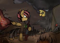 Size: 3500x2500   Tagged: safe, artist:tatykin, oc, oc only, oc:ratchet scram, pegasus, pony, fallout equestria, 69 (number), ar15, duster, fallout, fanfic, fanfic art, gun, hooves, male, pegasus enclave, pipbuck, rifle, sparkle cola, spread wings, stallion, truck, wasteland, weapon, wings