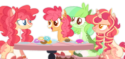 Size: 1280x609   Tagged: safe, artist:luqella, oc, oc only, oc:hopscotch, oc:key lime pie, oc:saltwater taffy, oc:top speed, earth pony, pony, unicorn, base used, donut, female, food, magical lesbian spawn, mare, offspring, parent:apple bloom, parent:scootaloo, parents:scootabloom, simple background, transparent background