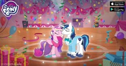 Size: 1200x630 | Tagged: safe, idw, princess cadance, shining armor, alicorn, pony, unicorn, neigh anything, spoiler:comic, spoiler:comic11, spoiler:comic12, advertisement, balloon, bowtie, clothes, confetti, costume, duo, eyes closed, facebook, female, gameloft, idw showified, male, mare, my little pony logo, official, present, presentable in periwinkle, shiningcadance, shipping, speakers, stallion, straight, teen princess cadance, teen shining armor, younger