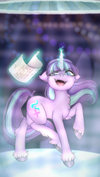 Size: 2420x4249 | Tagged: safe, artist:artificialstupidity3, starlight glimmer, pony, unicorn, the cutie re-mark, glowing horn, horn, looking down, solo