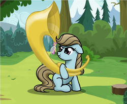 Size: 987x808 | Tagged: safe, artist:miragepotato, artist:nimaru, beauty brass, breezie, earth pony, pony, duo, female, floppy ears, mare, musical instrument, sitting, solo, sousaphone