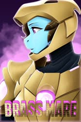 Size: 853x1280 | Tagged: safe, artist:amaraburrger, beauty brass, anthro, earth pony, armor, brassmare, commission, crossover, female, iron man, mare, parody, poster, power armor, powered exoskeleton, profile, solo