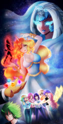 Size: 658x1300 | Tagged: safe, artist:kgfantasy, applejack, daybreaker, discord, fluttershy, pinkie pie, princess celestia, rainbow dash, rarity, spike, twilight sparkle, human, anime, anime style, breasts, busty daybreaker, busty princess celestia, element of generosity, element of honesty, element of kindness, element of laughter, element of loyalty, element of magic, elements of harmony, horn, horned humanization, humanized, mane seven, mane six, offscreen character, winged humanization, wings