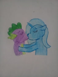 Size: 2448x3264 | Tagged: artist needed, safe, spike, trixie, female, hug, kissing, love, male, shipping, spixie, straight, traditional art