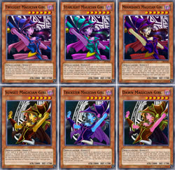 Size: 1267x1225 | Tagged: safe, alternate version, artist:mauroz, color edit, edit, luster dawn, moondancer, starlight glimmer, sunset shimmer, trixie, twilight sparkle, equestria girls, anime, armpits, ccg, clothes, colored, commission, crossover, dark magician girl, equestria girls-ified, female, glasses, magic, magic circle, open mouth, palette swap, recolor, scepter, trading card, trading card edit, yu-gi-oh!, yugioh card, yugioh card maker