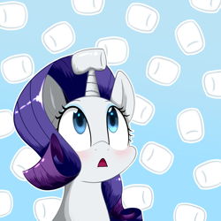 Size: 3800x3800   Tagged: safe, artist:yinglongfujun, rarity, pony, unicorn, blushing, bust, cute, female, food, high res, horn, horn guard, horn impalement, marshmallow, portrait, raribetes, rarity is a marshmallow, solo