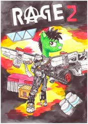 Size: 1280x1811 | Tagged: safe, artist:zocidem, oc, oc:wrench, earth pony, pony, armor, artificial wings, augmented, car, crossover, gun, mechanical wing, poster, rage, shotgun, solo, technology, weapon, wings