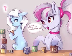 Size: 1280x985 | Tagged: safe, artist:buttersprinkle, oc, oc only, oc:eula phi, oc:windbreaker, pegasus, pony, unicorn, blocks, commission, duo, female, floppy ears, looking back, simple background, text