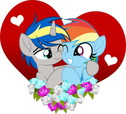 Size: 5000x4545 | Tagged: safe, artist:jhayarr23, rainbow dash, oc, oc:dopami korpela, pegasus, pony, unicorn, canon x oc, dopadash, female, flower, heart, holiday, hug, male, mare, movie accurate, part of a set, shipping, simple background, stallion, straight, transparent background, valentine's day, vector, ych result