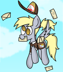 Size: 4152x4729 | Tagged: safe, artist:rainbowbacon, derpy hooves, pegasus, cloud, cute, derpabetes, flying, hat, mail, mailbag, mailmare, mailpony, mouth hold, ponytail, sky, solo, spread wings, wings