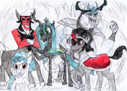 Size: 3439x2466 | Tagged: safe, artist:reptileman778, cozy glow, king sombra, lord tirek, queen chrysalis, storm king, centaur, changeling, changeling queen, pegasus, pony, unicorn, yeti, my little pony: the movie, spoiler:s09, antagonist, armor, bow, cape, clothes, cloven hooves, colored hooves, crossed arms, curved horn, evil, evil grin, female, filly, grin, hair bow, horn, horns, jewelry, legion of doom, male, nose piercing, nose ring, open mouth, piercing, raised hoof, regalia, smiling, stallion, story included, tail bow, traditional art, villains of equestria