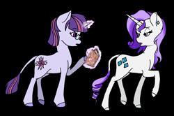 Size: 1729x1146 | Tagged: safe, artist:aurorastar1, rarity, twilight sparkle, pony, unicorn, leak, spoiler:g5, book, duo, female, g5, glasses, hooves, levitation, magic, magic aura, mare, raised hoof, rarity (g5), redesign, simple background, telekinesis, transparent background, twilight sparkle (g5), unicorn twilight