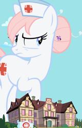 Size: 1069x1674 | Tagged: safe, artist:dashiesparkle, artist:gurugrendo, artist:hornflakes, artist:jerryakiraclassics19, artist:krazy3, artist:skie-vinyl, artist:vunlinur, applejack, nurse redheart, rainbow dash, twilight sparkle, alicorn, earth pony, pegasus, pony, angry, cloud, female, giant pony, giantess, hat, macro, mare, nurse hat, nurse redheart is not amused, ponyville hospital, spread wings, tree, twilight sparkle (alicorn), wings