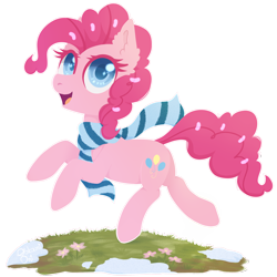Size: 2000x2000 | Tagged: safe, artist:0okami-0ni, pinkie pie, earth pony, pony, clothes, colored pupils, cute, diapinkes, ear fluff, female, flower, high res, mare, open mouth, scarf, simple background, snow, solo, transparent background