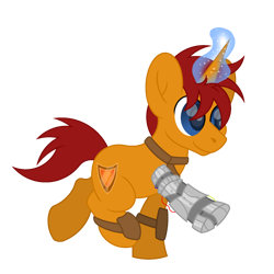 Size: 1800x1800 | Tagged: safe, artist:ponkus, oc, oc:topaz shield, pony, unicorn, fallout equestria, amputee, leather armor, magic glow, male, prosthetic leg, prosthetic limb, prosthetics, solo, stallion